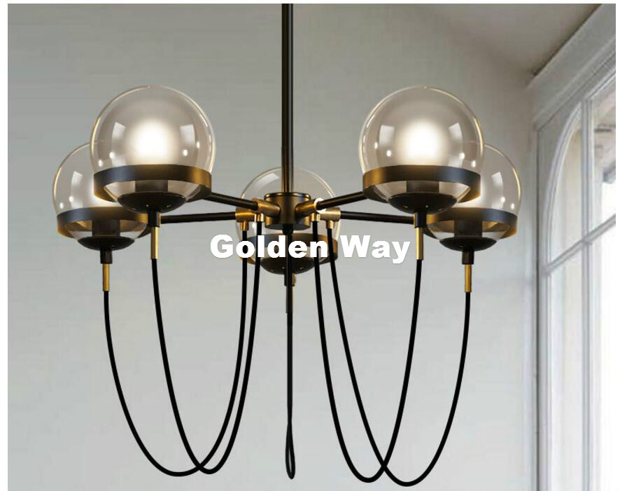 Modern Nordic 5L Pendant Lamp Restaurant Dining Room Suspension Black/Brass Luminaire Hanging Lamp American Vintage Pendant Lamp modern 3l 5l 6l 8l 10l brass pendant lamp antique brass chandelier vintage total copper glass ac 100% guaranteed free shipping