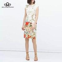 2015 Summer New Vintage Elegant Floral Birds Positioning Print Cheongsam Chipao White Dress Women Dress