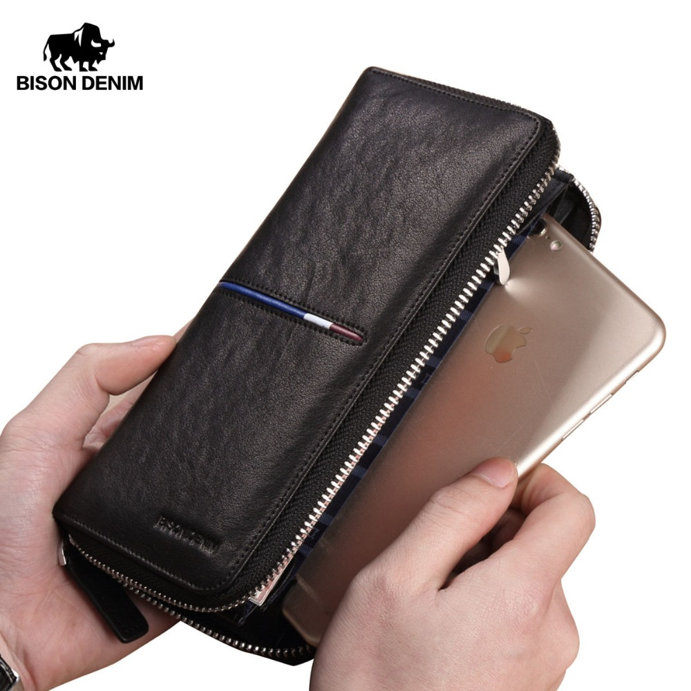BISON DENIM Genuine Leather Long Zipper Wallet Large Capacity Phone Purse Male Luxury Brand Clutch Wallet Fashion Card Wallets bison denim brand genuine leather wallet men clutch bag leather wallet card holder coin purse zipper male long wallets n8195