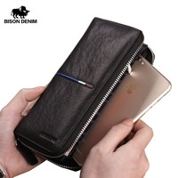 BISON DENIM Genuine Leather Long Zipper Wallet Large Capacity Phone Purse Male Luxury Brand Clutch Wallet Fashion Card Wallets