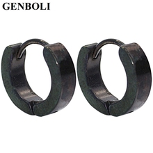 GENBOLI Boys Grils Special Style Stainless Steel Earrings For Party Club With Silver Black Color Wedding Accessories Unique