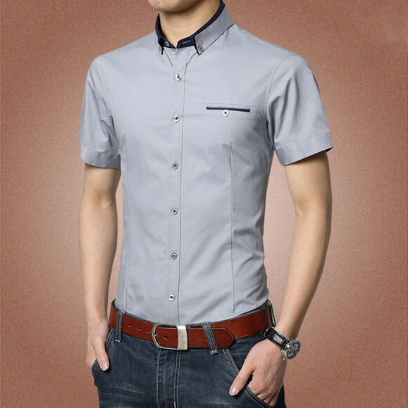 2016 New Arrival Men Summer Short Sleeve Dress Social Shirt Slim Fit Solid Formal Cotton Shirts Camisa Masculina 13M0193