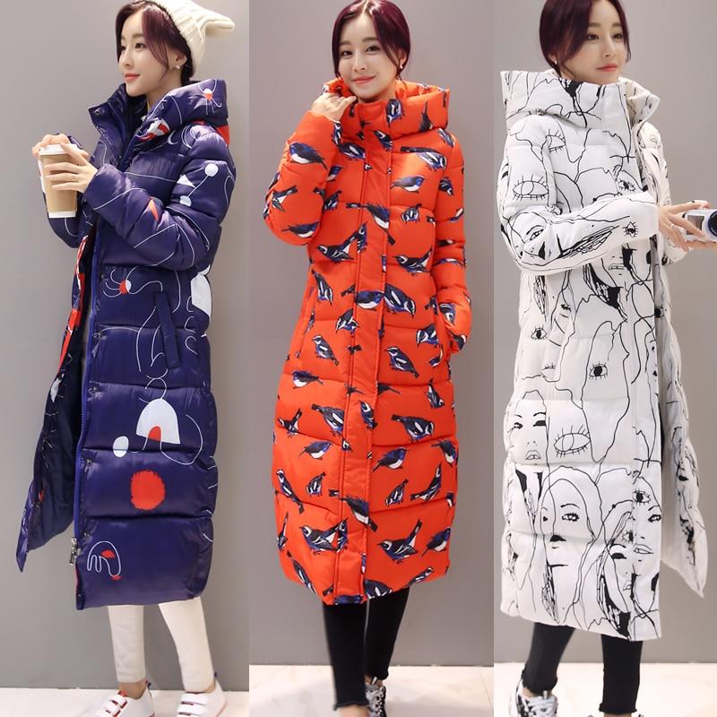 Korean New Winter Coat Women clothing Women Slim Printing pattern Long Coats Overcoat Winter Jacket Plus