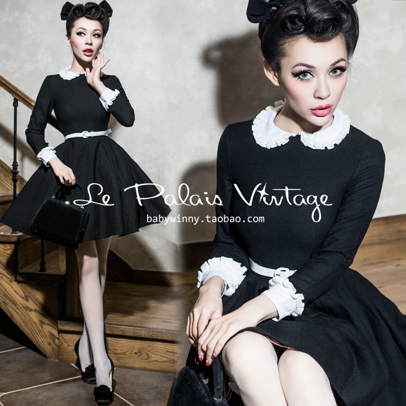 FREE SHIPPING Le palais vintage limited vintage peter pan collar puff woolen one piece dress plus size available