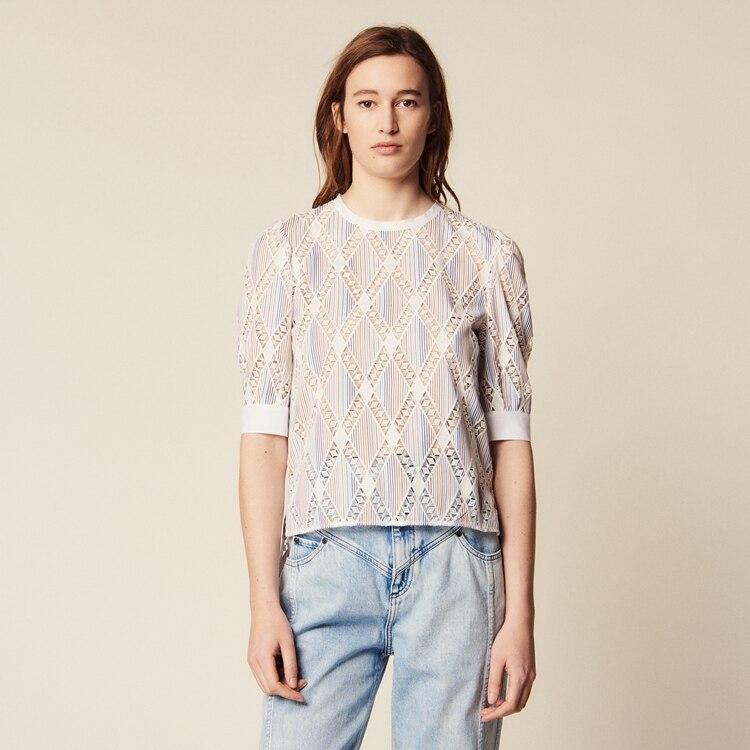 Frauen tops/blusen Elegante O neck stripes cut out bestickt shirt-in Blusen & Hemden aus Damenbekleidung bei  Gruppe 1