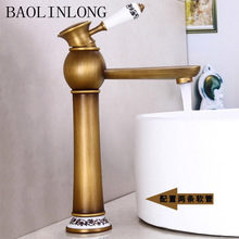 BAOLINLONG Antique Styling Brass Basin Deck Mount Bathroom Faucets Vanity Vessel Sinks Mixer Single Tap