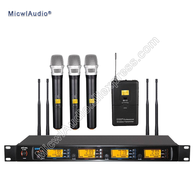 Professional UHF 4x100 Channel Wireless Microphone System 3 Handheld+1 Bodypack Micwl.Audio G900 005|Microphones| |  - title=