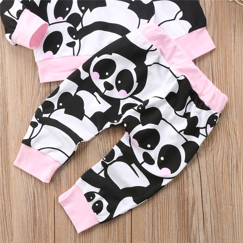 Baby Girls Panda Print Clothing Set Fall Warm Newborn Babys Girl Long Sleeve Tops+Pants New Year Costumes Baby Girls Clothes Set
