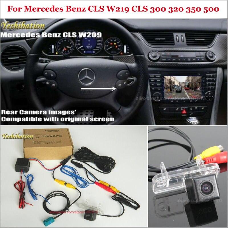 Arrière Vue Caméra Pour Mercedes Benz CLS W219 CLS 300 320 350 500-Back Up N ° Caméra Ensembles RCA et Écran D'origine Compatible