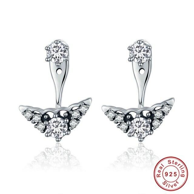 100 Authentic 925 Sterling Silver Fairytale Tiara Stud Earrings Clear Cz For Women