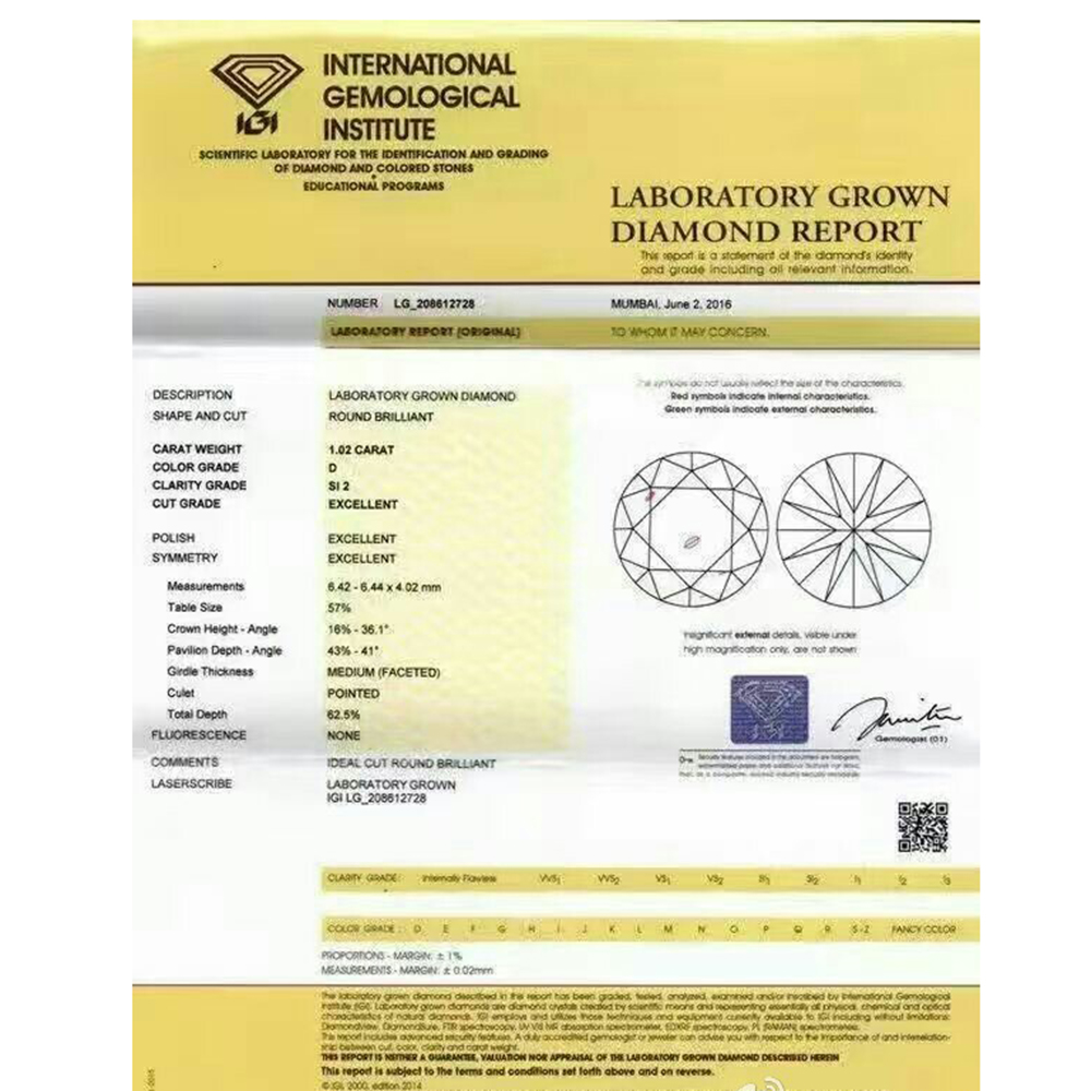 igi certificate certificat diamond polished