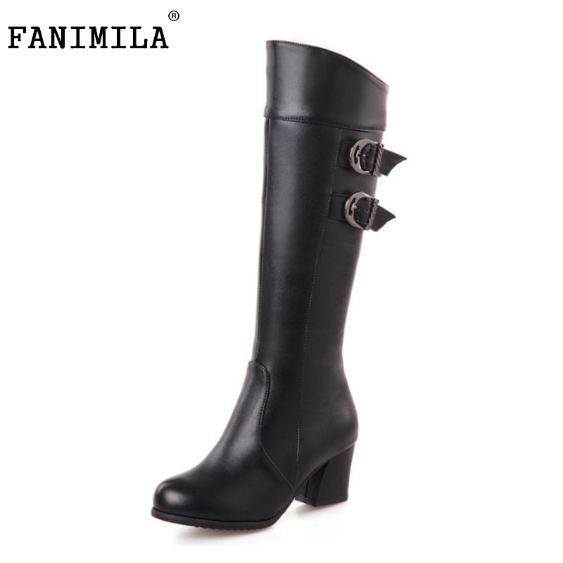 Women Square Heels Over Knee Boot Winter Snow Warm Long Boots Riding Buckle Botas Mujer Quality Footwear Shoes Size 28-52 coolcept size 30 47 women square high heel over knee boots snow long boot warm winter brand botas footwear heels shoes p20222