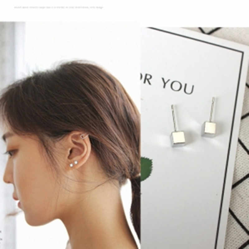 Now The Mostnew Fashion Black Silver Color 3 Western Triangle Round Flash Stud Earrings For Women Gifts Jewelry Gold Color