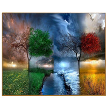 Four Seasons Scenery DIY Painting By Numbers 24 Color Pigment Brush Painting Art Hand-painted Creative Digital Oil Painting(China)