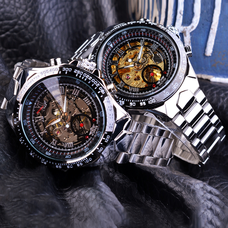 Top Luxury Men s Watch Mechanical Watch Fashion Swiss men s personality all steel hollow automatic