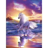 LZAIQIZG NEW 5D DIY Diamond Painting White Horse&Sea Diamond Embroidery Cross Stitch Needlework Gift Full Rhinestone Decoration
