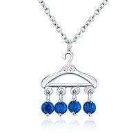 Oryginalna 925 Sterling Silver Biżuteria Sapphire Kryształ Mini Wieszak Wisiorek Naszyjnik Kobiety Strona Choker Fine Jewelry Prezent