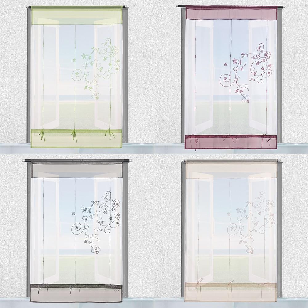 1 Stück Beliebte Nizza Transluzenten Polyester Vorhänge Römischen Jalousien Fenster Tüll Voile Vorhang Bestickt Pastoralen Vorhang Wohnkultur Einfach Zu Schmieren