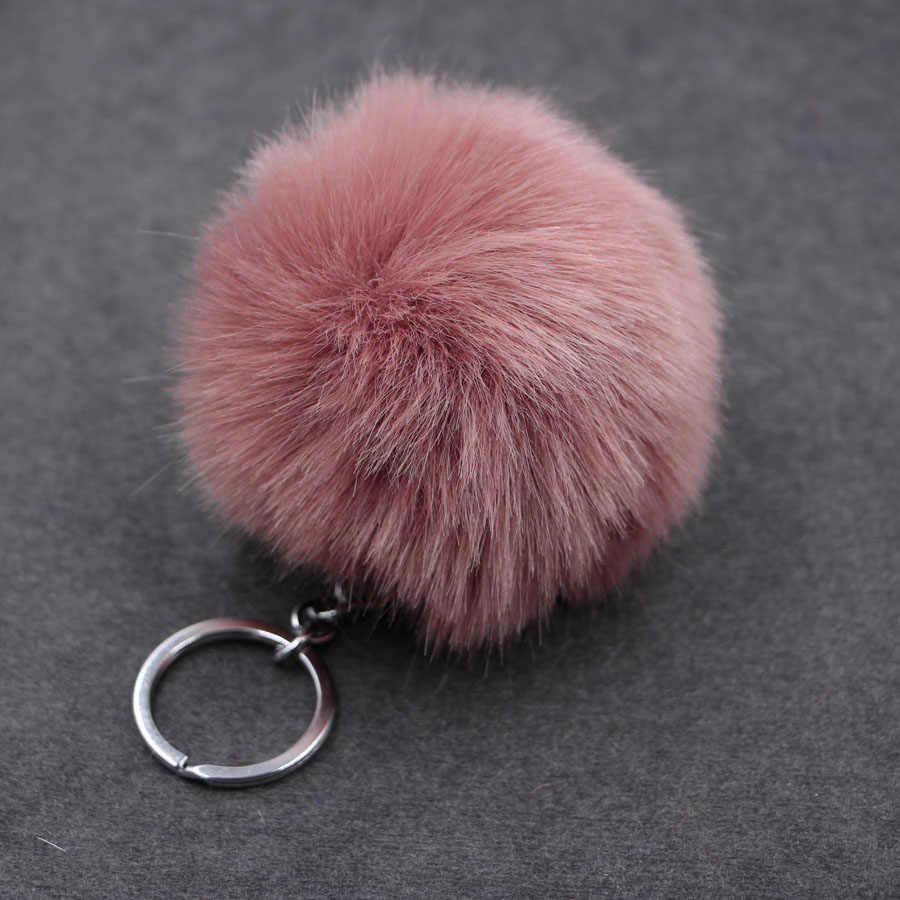 8 см пушистый помпон кролик меховой шар брелок для ключей кольцо для женщин из искусственного меха кролика помпон брелок для ключей сумка талисманы брелок свадебные украшения подарок