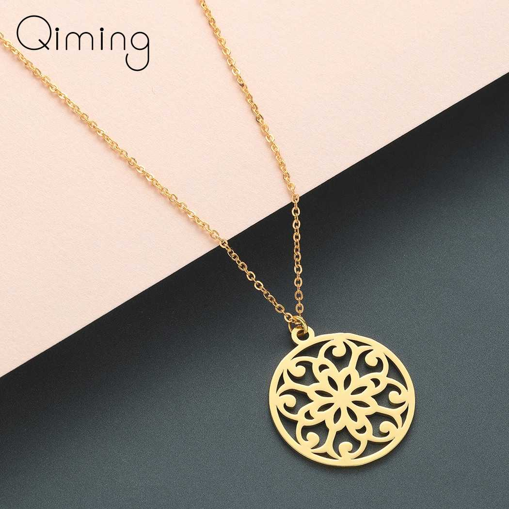 Mandala Golden Necklace Women Handmade Buddhism Ancient Retro Indian Jewelry Floral Amulet Pendant Necklace Gift