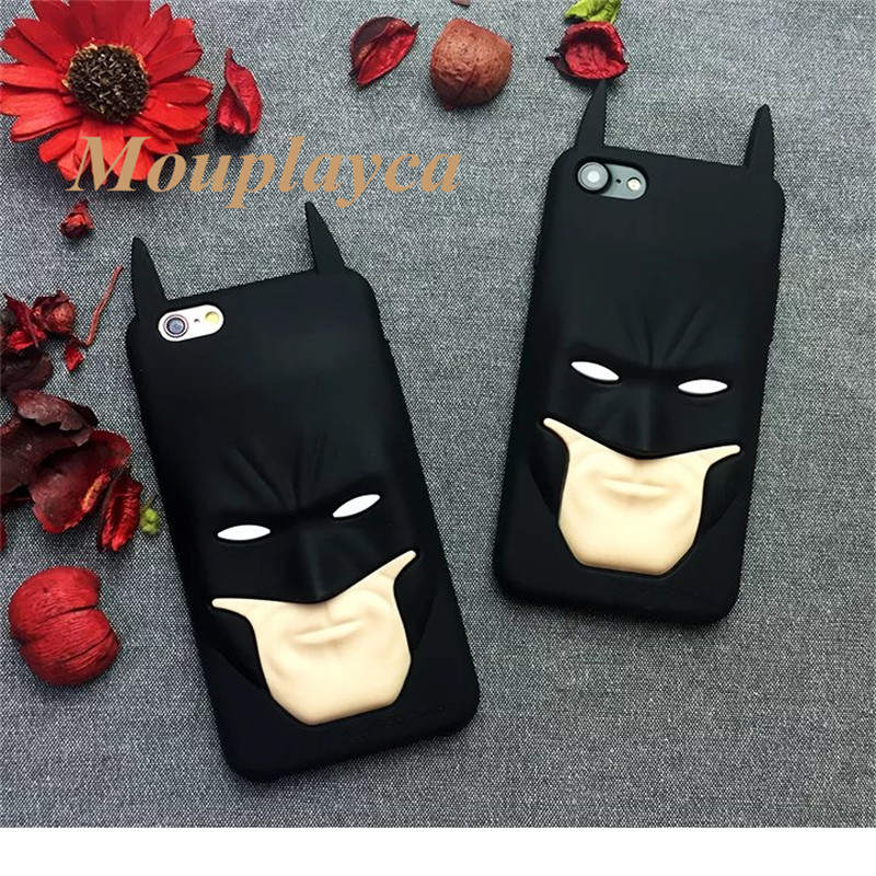 Soft Silicone cases Cute Cartoon 3D Batman Face back cover for iphone 6 6s plus 7 plus Mobile phone cases