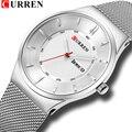 2018 часы мужские классические бизнес наручные часы модный бренд CURREN стальной сетчатый ремешок кварцевые мужские часы водонепроницаемые 30 м ...
