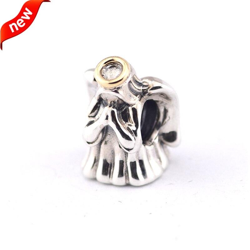 Подходит для Пандоры Braclets божественный Ангел Талисманы с 14 К Real Gold 100% 925 серебро Бусины Бесплатная доставка
