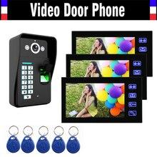 7″ Touch Video Door Phone Intercom Doorbell System Fingerprint ID Card password Video Doorphone interphone for Villa Home Office