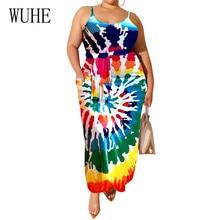 WUHE Women Spaghetti Strap Sleeveless Sexy Dress Summer Fashion Vintage Hollow Out Casual Maxi Ladies Leisure Dresses