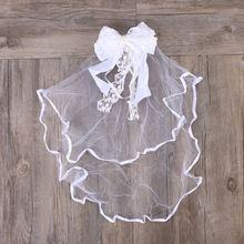 1 шт., детская свадебная вуаль для девочек, кружевной бант, украшение для волос, свадебная пряжа для причастия, белая вуаль с цветочным рисунком(белая