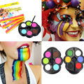 Popfeel Brand Rainbow Body Paint Color UV Neon Glowing Face Painting Kit Highlight Temporary Tattoo Schmink Halloween Makeup Set