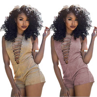 IMYSEN Summer Autumn 2017 New Arrival Women Playsuits Sexy Lace Up Jumpsuit Solid Pink Khaki Suede