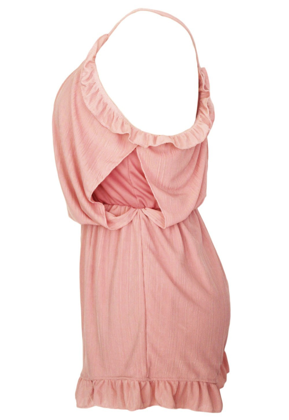 Pink-Ruffle-Off-The-Shoulder-Romper-LC60275-4