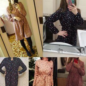 Image 3 - Robe Femme 2019 Spring Autumn Vintage Vestidos Women Elbise Casual Loose Long Sleeve Leaves Printed Drawstring Waist Dresses