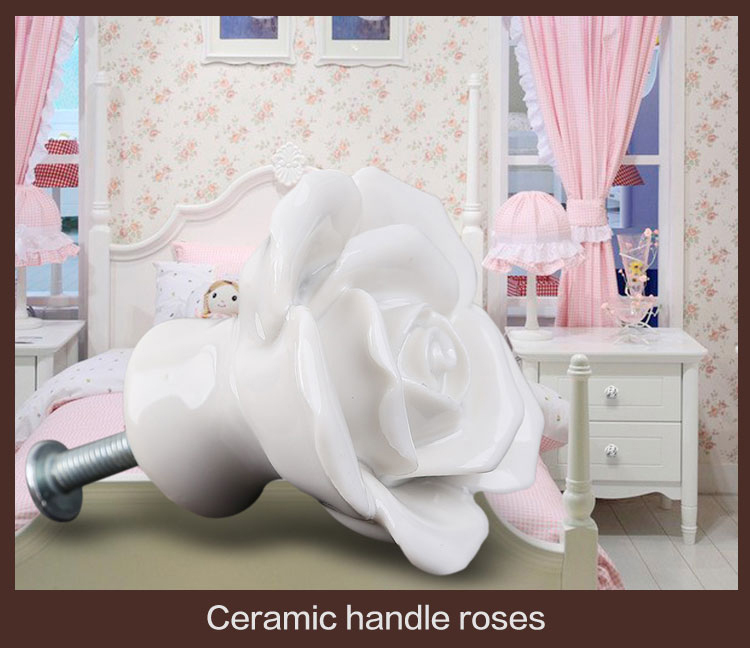 6PCS White Rose Flower Ceramic Kitchen Cabinet Cupboard Handles Pull Knob Wardrobe Closet Drawer furniture Decor Door Knob