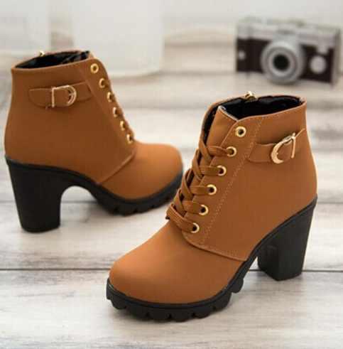 2019 ฤดูใบไม้ร่วงใหม่ผู้หญิงฤดูหนาวรองเท้าคุณภาพสูง Lace - up ยุโรปสุภาพสตรีรองเท้า PU แฟชั่นรองเท้าส้นสูงรองเท้า 35-41