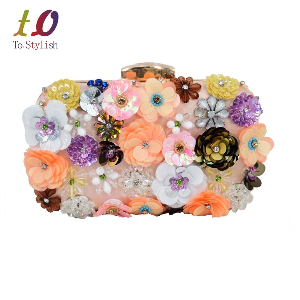 Señora De Lujo más nuevo de Flores de Diamantes Bolso de Noche Muñequeras Embrag