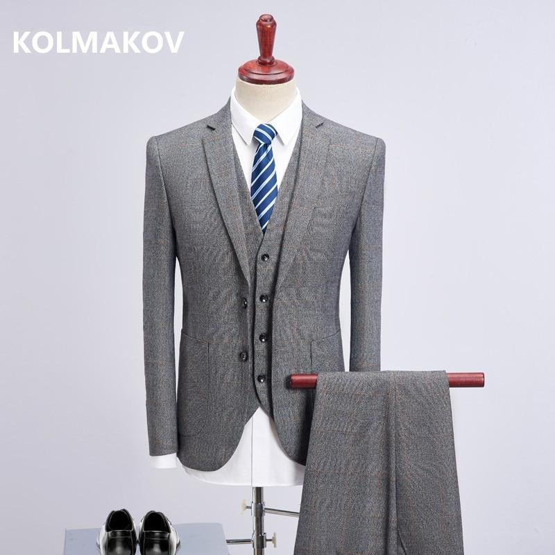 (Jacket+Vest+Pants) 2018 Men Business Suits Slim Blazers Formal Dress Men Suit  casual party groom grey men suits dress