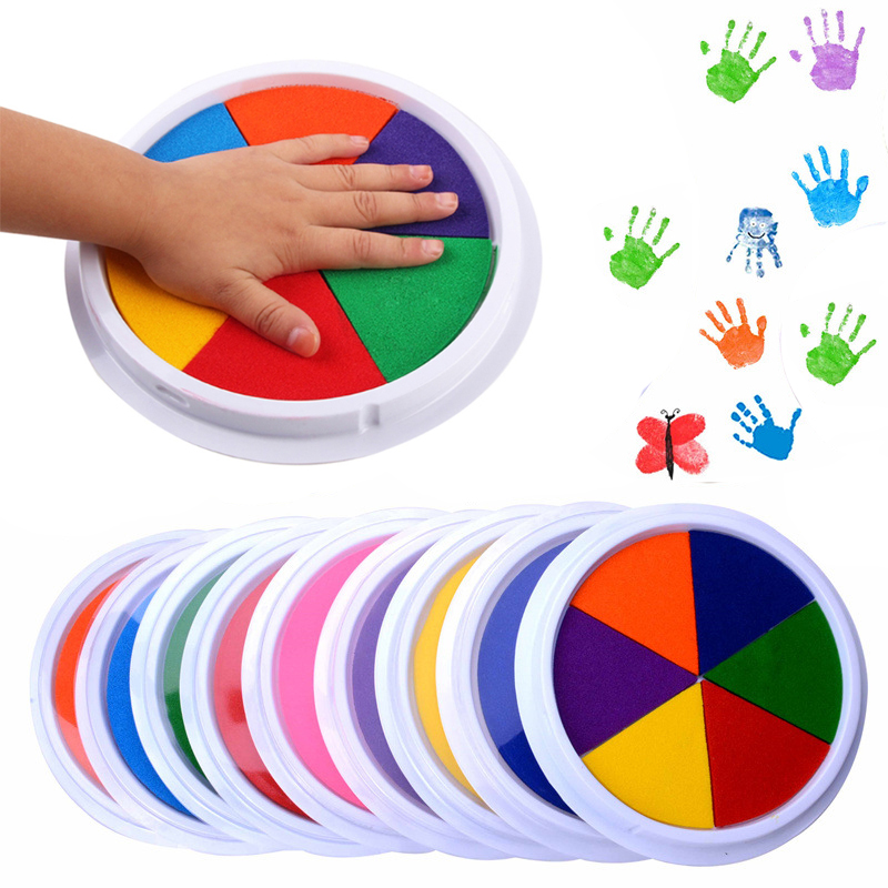 6 Colors Ink Pad Stamp DIY Finger Painting Graffiti Craft Large Round InkPad Funny Learning Education Drawing Toys For Children