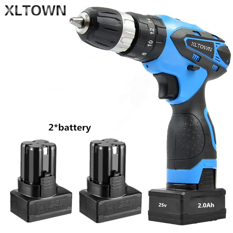 XLTOWN 25V 2000mA Impact Drill with 2 battery Rechargeable Lithium Battery Multifunction Electric Screwdriver  Power Tools 3 6v 2400mah rechargeable battery pack for psp 3000 2000