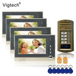 Vigtech 7 ''Цвет видео-телефон двери 4 Мониторы с 1 внутрнний дверной звонок может управлять 4 дома для многоквартирных RFID Камера