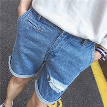 Jun ~ New Summer spore hole in Korean washed denim shorts Mens five pants pants