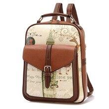 Холст печати рюкзаки женские рюкзаки Новая мода печатных мультфильм милый студент рюкзак BP0114