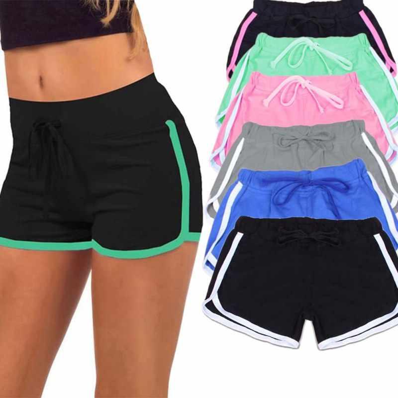 Gran oferta yo-ga pantalones cortos con cordón para mujer Casual algodón suelto contraste vinculante lado Split cintura elástica corto femenino W13