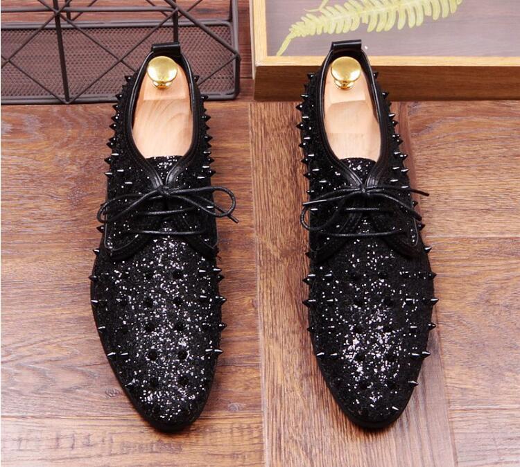 Vestido Sapatos A Homens Casamento Casa Studded Marca End Moda De Maré High Da Luxo Glitter Regresso vermelho Rivet Pico Black Do Designer xxn6zT