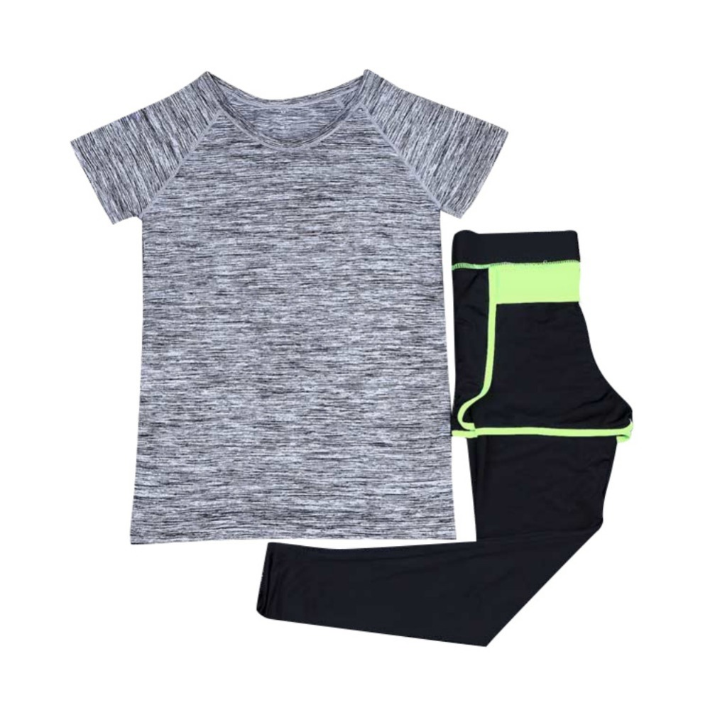 Womens Yoga Suits Sports Yoga Set Breathable Quick Dry Shirt+Pants Gym Fitness Runniong Tracksuit