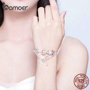 Image 4 - Bamoer Rose GoldสีเดิมCharmสร้อยข้อมือผู้หญิงดอกไม้Daisy Love Keyจี้Charms Solidเงิน 925 เครื่องประดับSCB824