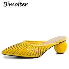 купить Bimolter Hollow Women Mules Yellow Elegant Party Pointed Toe Summer Shoes Genuine Leather Outdoor High Heels Slippers NC026 по цене 5059.92 рублей