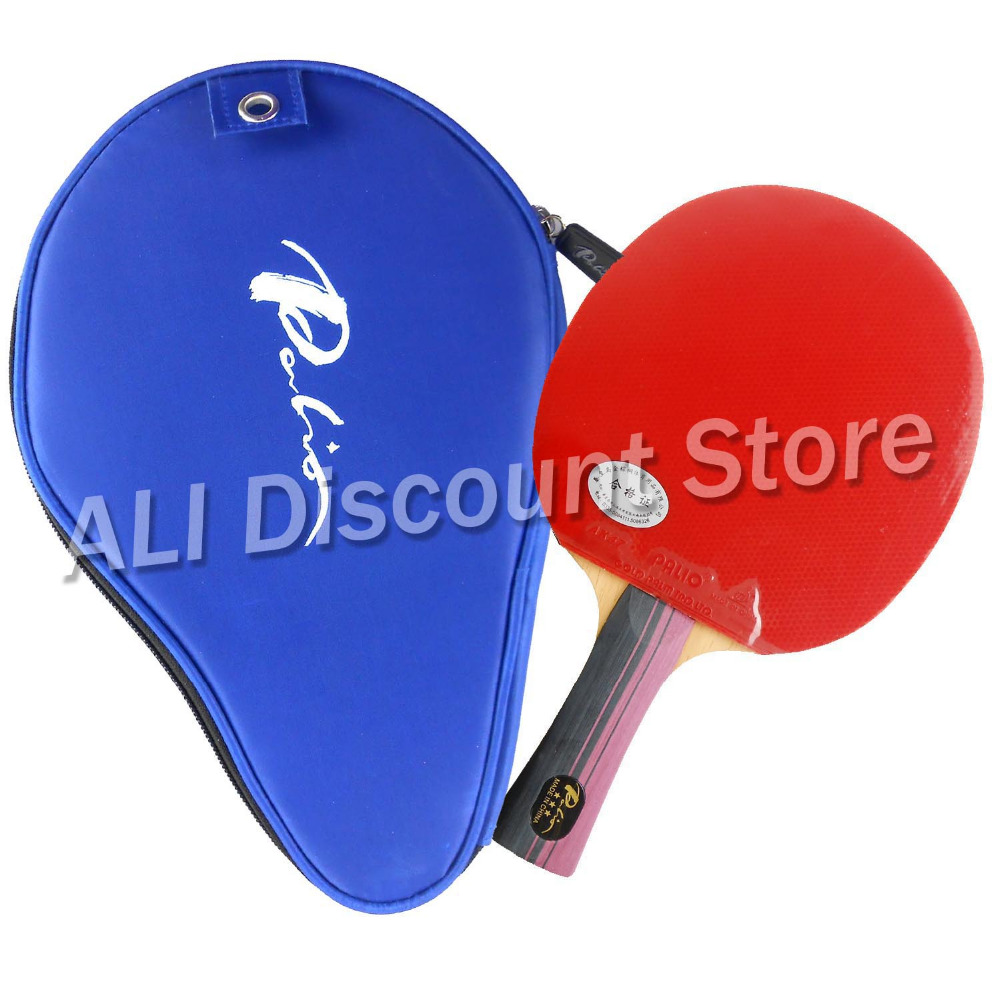 Palio 3-STAR 3STAR 3 STAR Pips-In Table Tennis Racket with Case Shakehand long handle FL ...