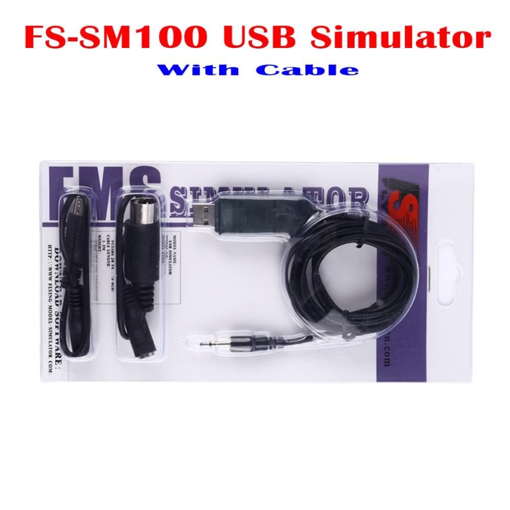 FMS FS-SM100 USB Simulator Emulator With Cables for Futaba ESky JR WFLY 4-8Ch Skill Traning reflex xtr usb simulator cable for futaba and e sky r c remote controllers